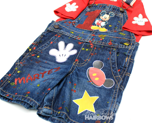 Mickey Mouse Overalls-Mickey Mouse Birthday Overalls-Mickey mouse Birthday outfit