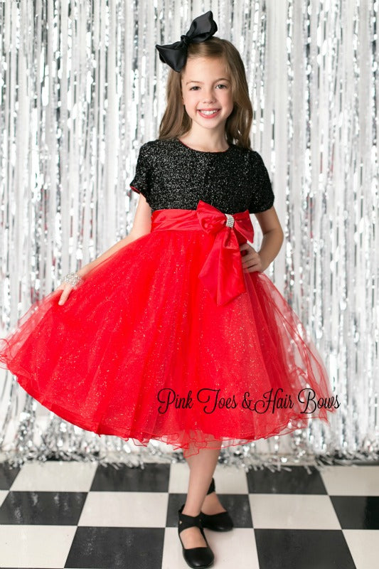 Black and Red Glitter Christmas Dress-Ready to ship