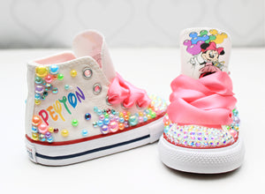 Minnie shoes- Minnie bling Converse-Girls minnie Shoes-pastel minnie shoes