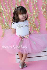 Pink and gold Tutu Set