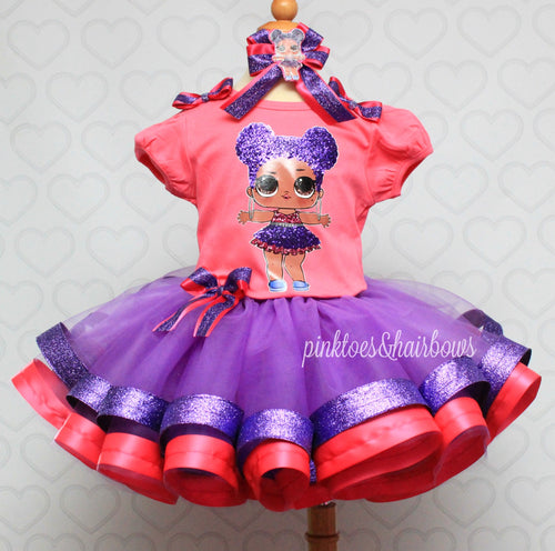 Purple Queen lol surprise doll tutu set-Purple queen lol surprise outfit-Purple queen lol dress
