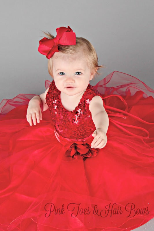 Red Sequin Holiday Dress with flower sash-Ready to ship