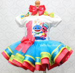Load image into Gallery viewer, Baby shark tutu set-Baby shark outfit-Baby shark dress
