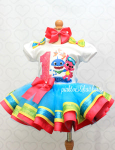 Baby shark tutu set-Baby shark outfit-Baby shark dress