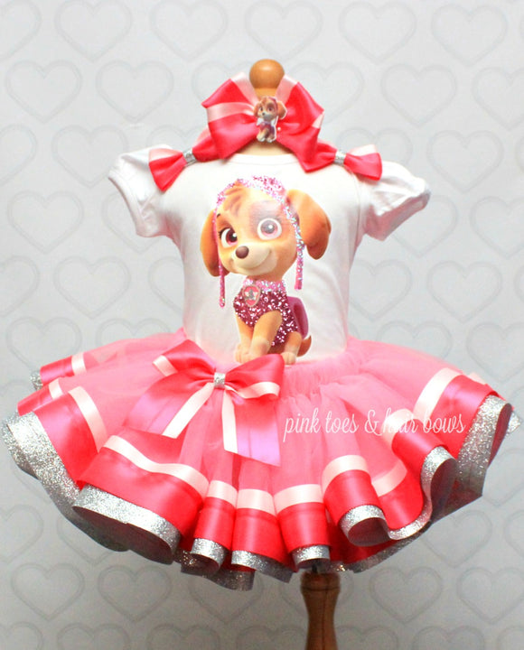 Skye Tutu set-Skye outfit-Skye dress- Paw patrol tutu set