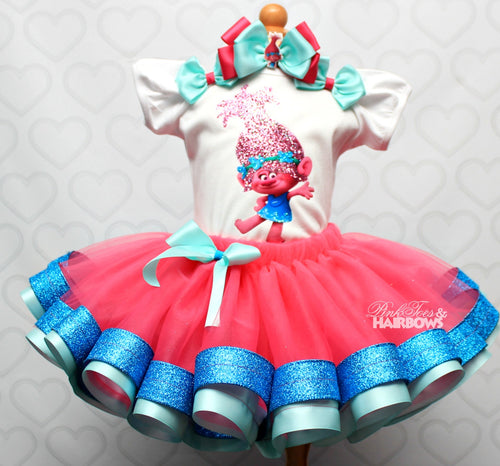 Poppy Troll tutu set-Poppy troll outfit-Poppy trolls dress