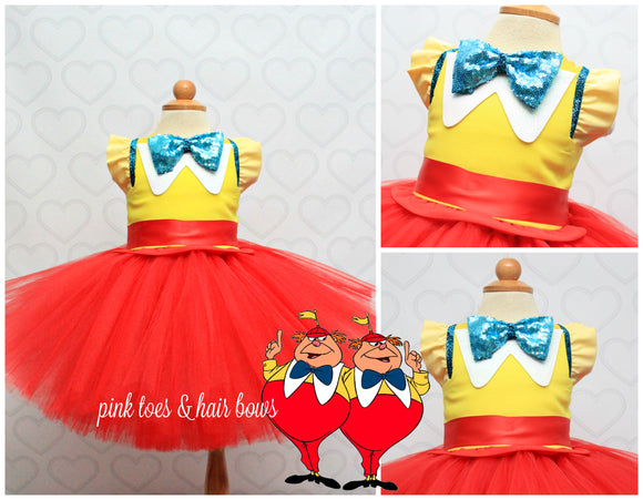 Tweedle dee Tweedle Dum dress-Tweedle dee Tweedle Dum costume-Tweedle dee Tweedle Dum tutu-Tweedle dee Tweedle Dum tutu dress
