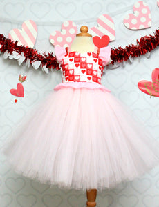 Valentine Dress-Girls valentine dress- Valentines tutu dress-Valentine tutu