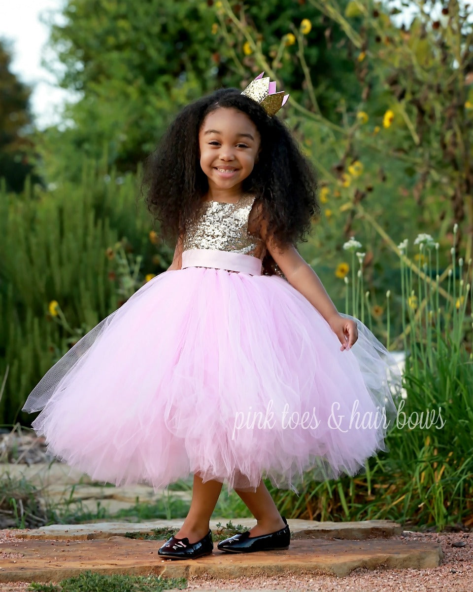 The Skye Pink and gold dress-flower girl dress