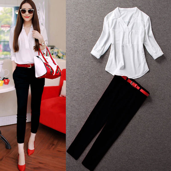 2 pieces set 2017 Women Clothing 2 Pieces Lady Clothing Set Large Size S-XL/2XL Summer Three Quarter Sleeve Chiffon Blouse+pants