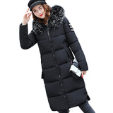 2017 Fashion Womens Faux Fur Collar Hooded Zipper Casual Winter Thicken Parka Coat Cotton Down Padded Jacket Overcoat Outwear
