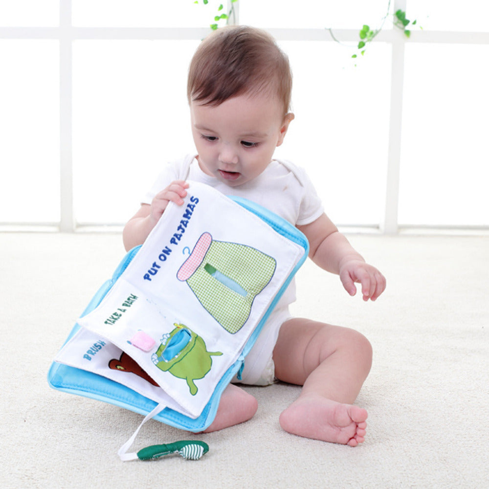 12 pages Soft Cloth Baby Boys Girls Books Rustle Sound Infant Educational Toys For 0-12 month