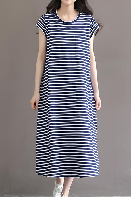 2019/20 Striped Cotton Nursing Clothes Short-sleeved Maternity Dress