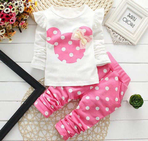 2019/20 New kids clothes girl baby long rabbit sleeve cotton Minnie casual Baby Suits