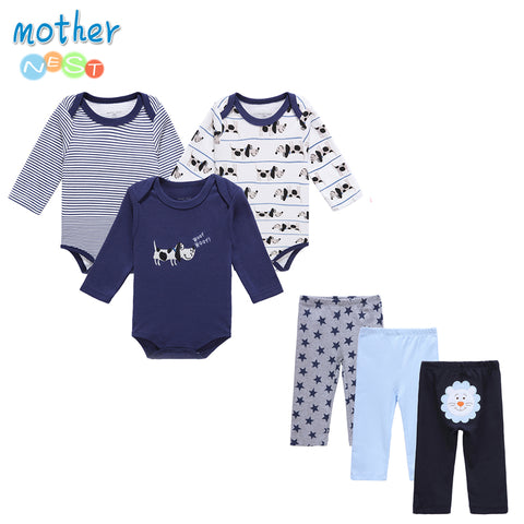 6 PCS /Lot Mother Nest Baby Boy Clothes NewBorn Infant  0-12 Baby Rompers+ Baby Pants