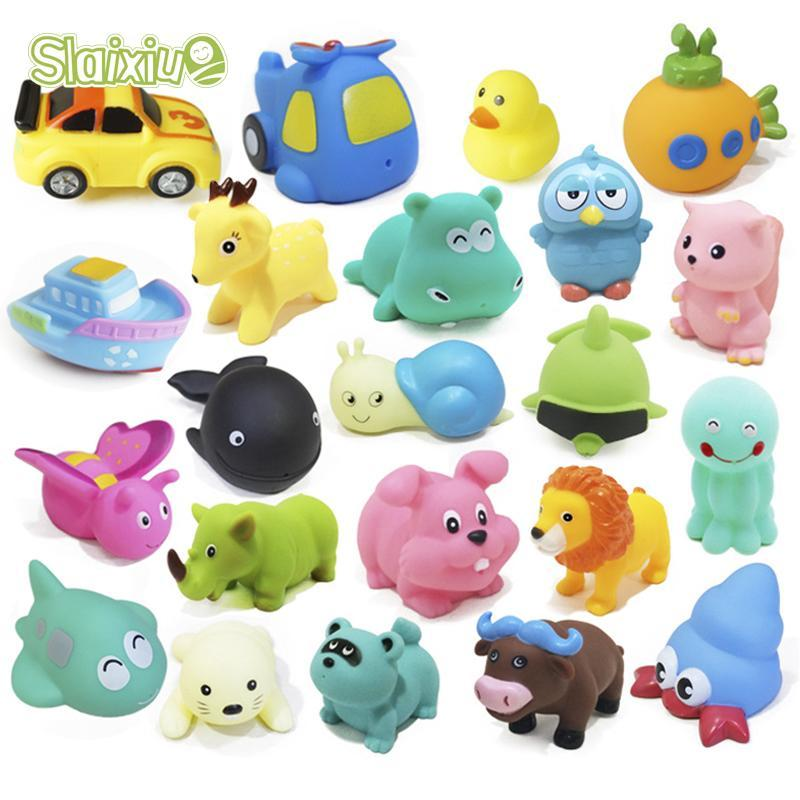 10Pcs/Lot Baby Animal Interesting Bath Toys Children's Soft Rubber Water Toy