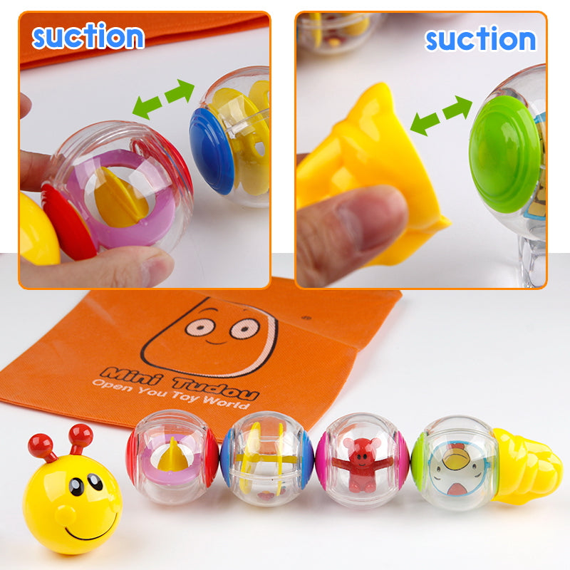 6PCS Little Magnetic Caterpillar Toys For Boys Girls Baby Toys 13-24 Months Infant Rattles