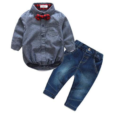 2019 autumn baby boy  clothes Long sleeve rompers shirts+jeans baby boys Clothes