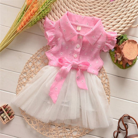 Baby Clothing Girls Dresses Pink Baby Princess Bow Summer Tutu Lace Tulle Dress 0-24 Months