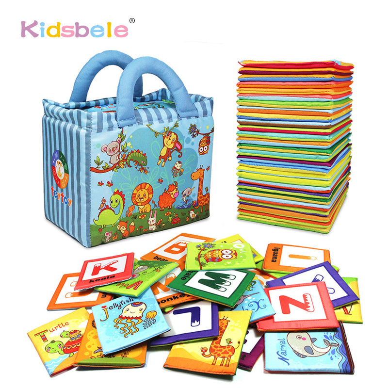 Baby Early Learning Toys For Children 26PCS Alphabet&Letters Montessori Soft Cards 0-24 Months