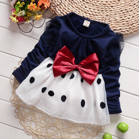 Baby Girl Dress Vestidos Spring Autumn Long Sleeved Polka Dot With Bowknot Princess Dress