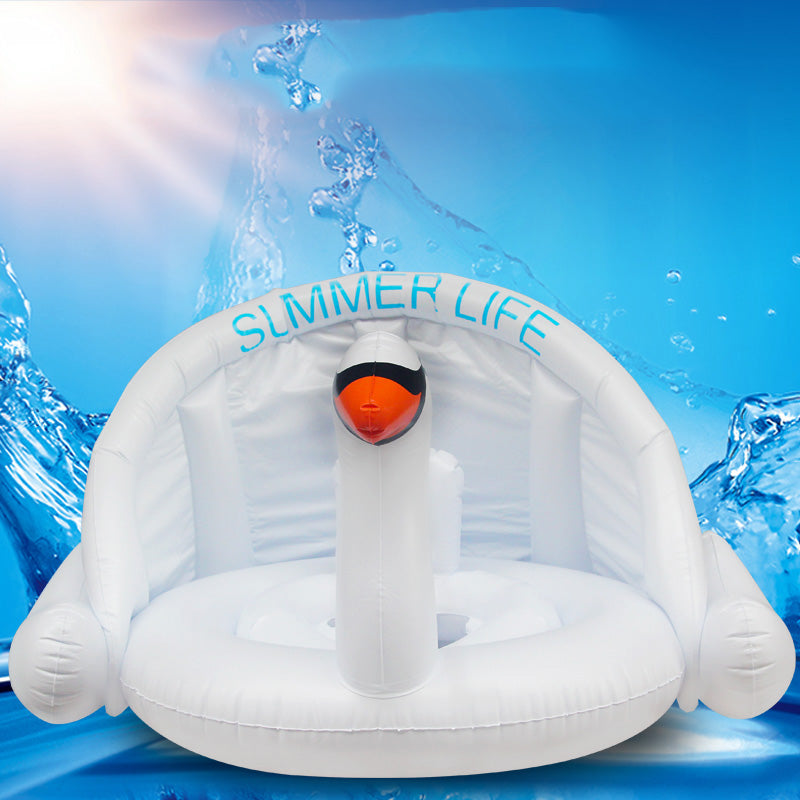 Baby Shade Swim Float Circle Ring Safe Inflatable Flamingo Baby Arm Rings Kids Seat with Sunshade