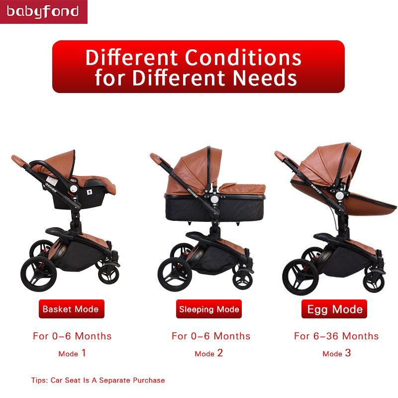 Babyfond  Free Shipping Luxury 3 in 1 Baby stroller Brand baby PU Leather Pram Safety Car Seat
