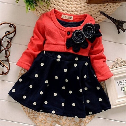 BibiCola baby Girls Dress Casual Kids Autumn Girl Clothes Polka Dots Girls Party Dress