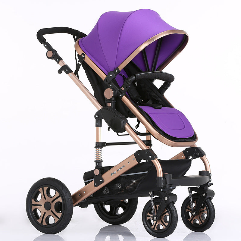 Luxury Baby Stroller Folding Baby Pram High Landscape Sit and Lie For Newborns Infant