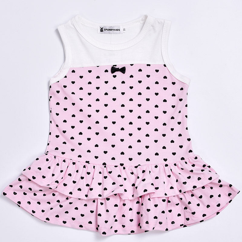 New 2020 summer baby girl dress Cute sleeveless dress with small heart+ short Cardigan 2/pcs