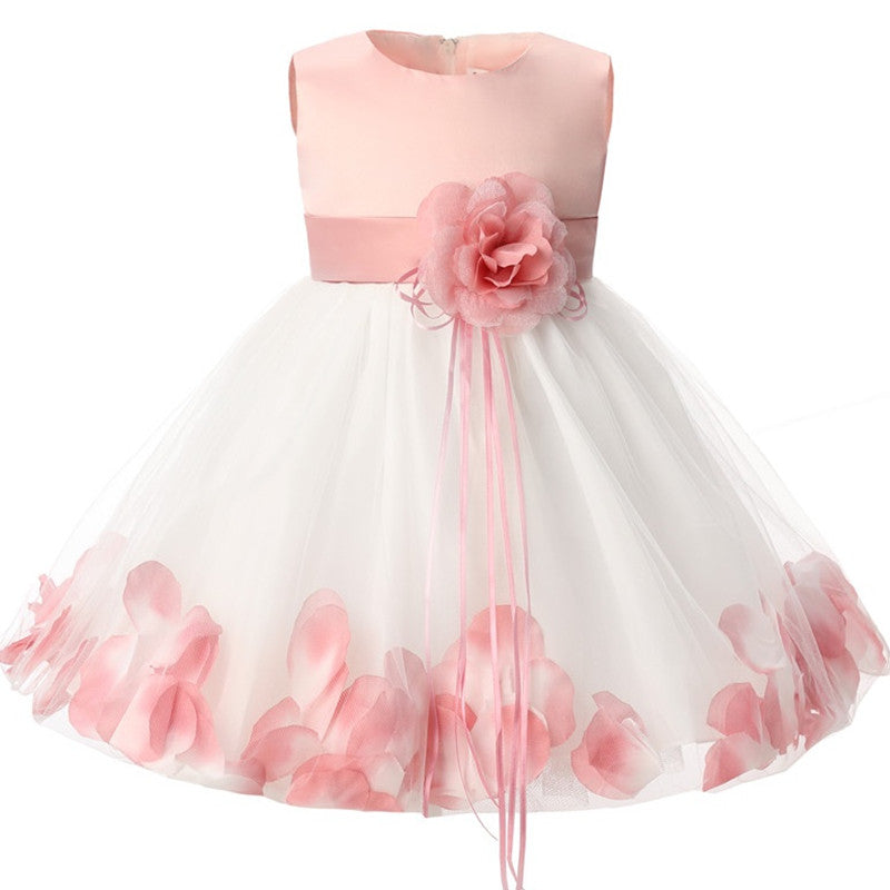 Newborn Baby Girl 1 Year Birthday Dress Petals Tulle Toddler Girl Christening Dress