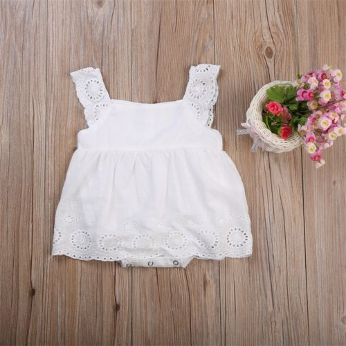 Newborn Toddler Kids Baby Girls Infant Dress Bodysuit Cotton Casual White Summer Dress