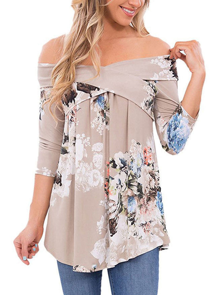 Plus Size Female T-shirt off-the-shoulder Maternity Floral Chiffon Clothing