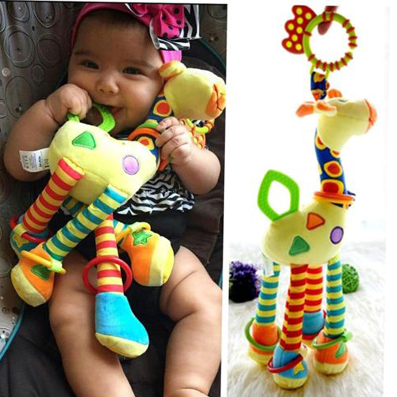 Plush Infant Baby Development Soft Giraffe Animal Handbells Rattles Handle Toys With Teether
