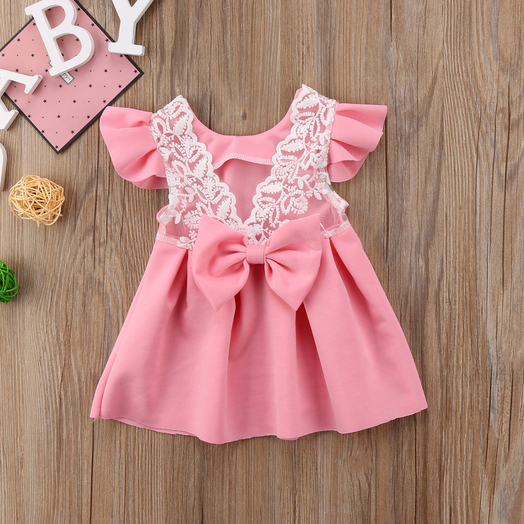 Pudcoco Baby Girls Dress Toddler Girls Backless Lace Bow Princess Tutu Party Dress