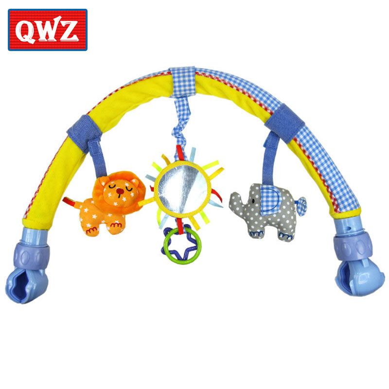 QWZ HOT 1pcs Baby Hanging Baby Blue Elephant And Pink Bunny Music Toy