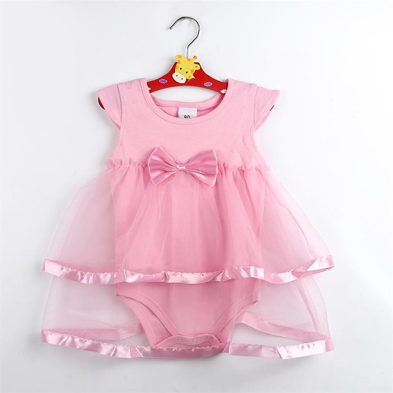 TANGUOANT Hot Sale NewBorn Baby Dress Summer Cotton Bow Baby Rompers For Girls