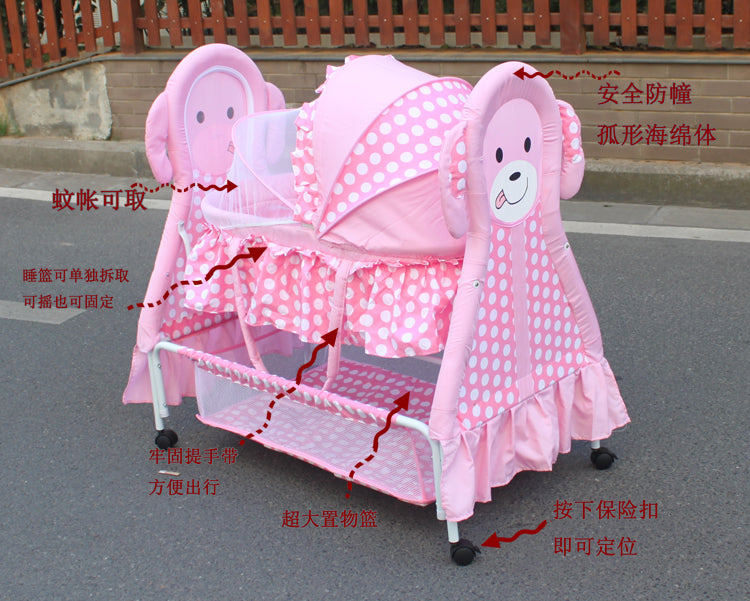 Three Colors Good Quality Manual Animal Carton Image Baby Cradle Including Mosquito Net