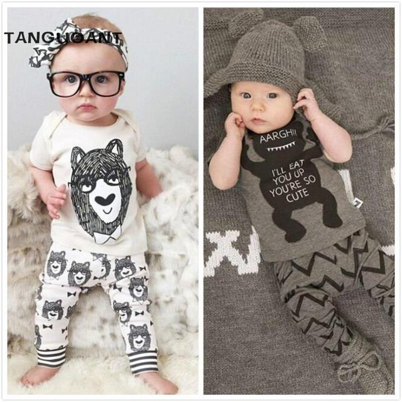 TANGUOANT New 2020 summer style Cotton little monsters short sleeve infant clothes 2 Pcs