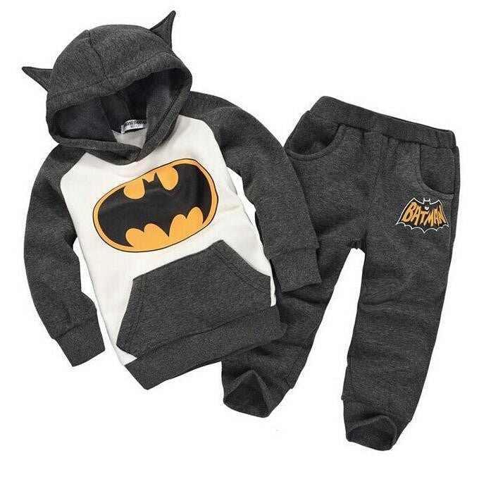 batman set baby boys or Girls clothing set children hoodies pants thicken Warm Clothes
