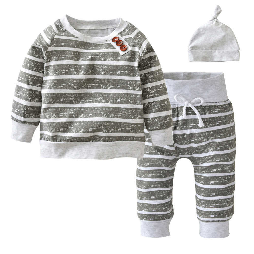 3Pcs/Set Baby Clothing Sets 2019 Autumn Baby Boys Clothes Infant Striped T-shirt+Pants+Hat