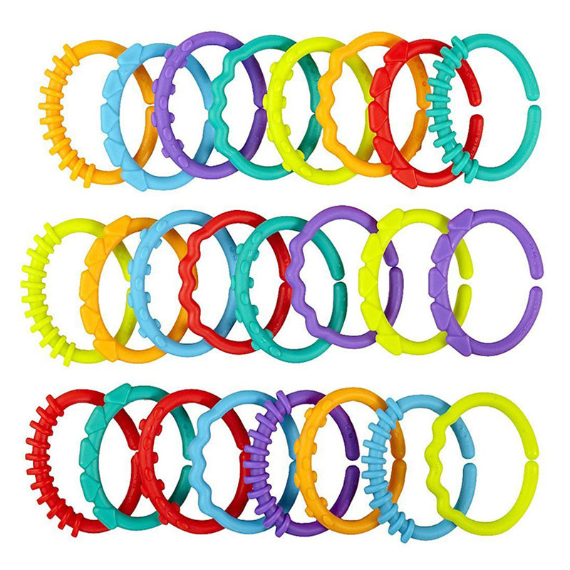 24Pcs Baby teether toys baby rattle colorful rainbow rings crib bed stroller hanging decoration