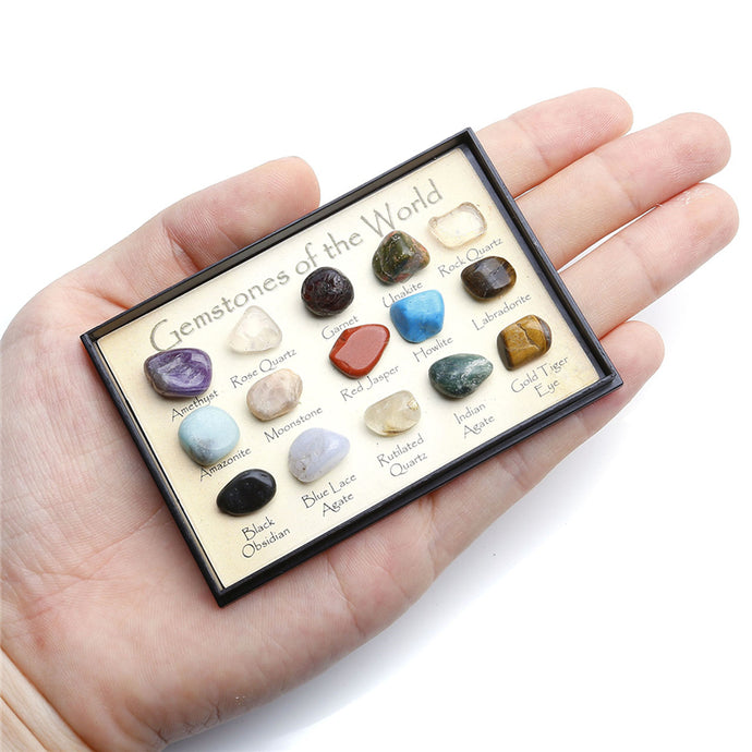 15 piece Reiki Travel Collection Natural Tumbled Stones Set
