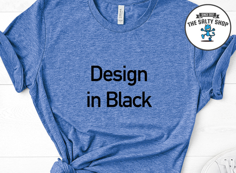 Black Design on Blue Shirt