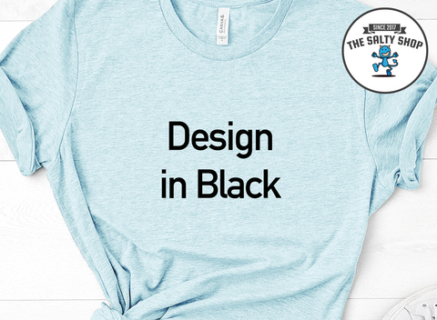 Black Design on Light Blue Shirt