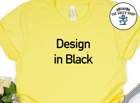 Black Design on Maize Yellow Shirt