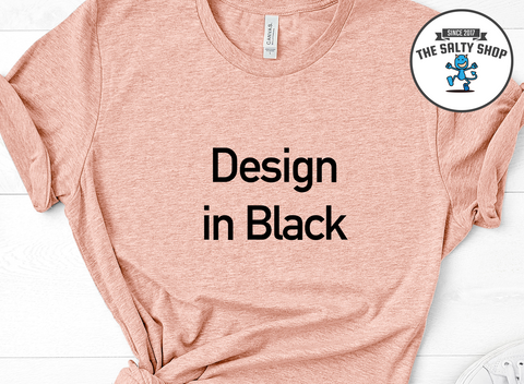 Black Design on Peach Shirt