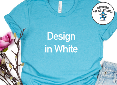 White Design on Aqua Shirt