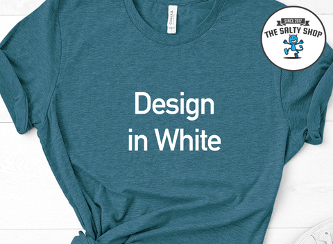 White Design on Dark Teal Shirt