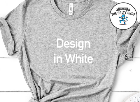 White Design on Grey Shirt
